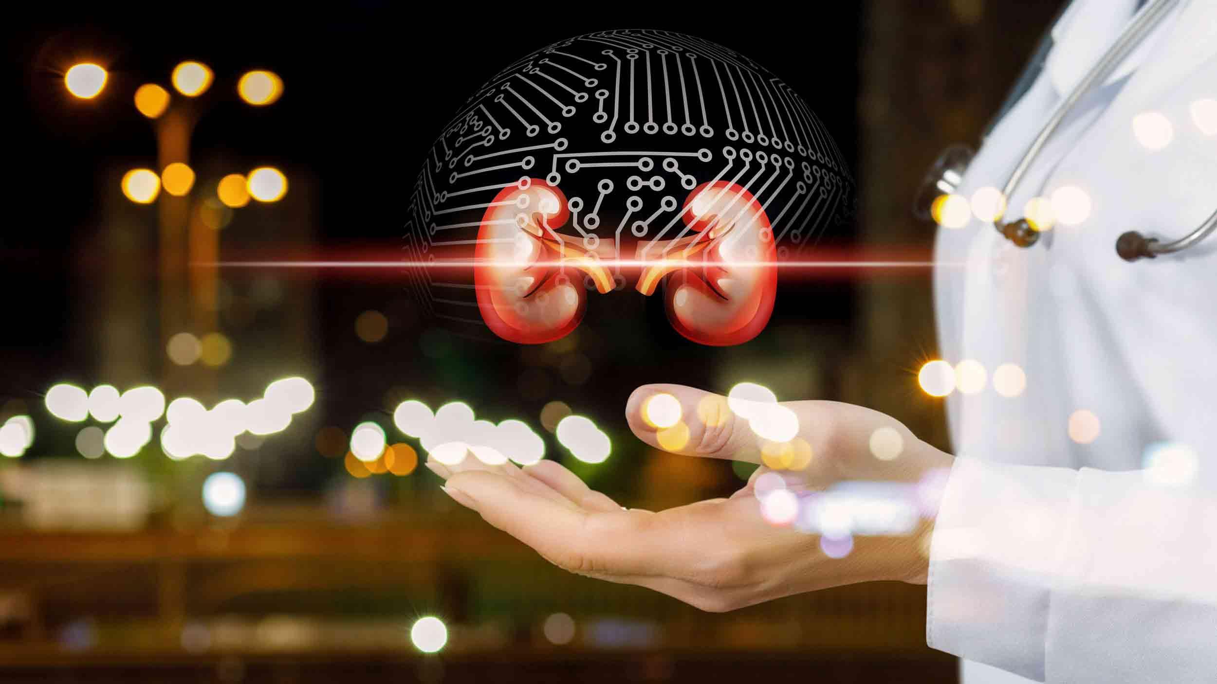 Hologram Gehirn schwebt über Hand Arztkittel