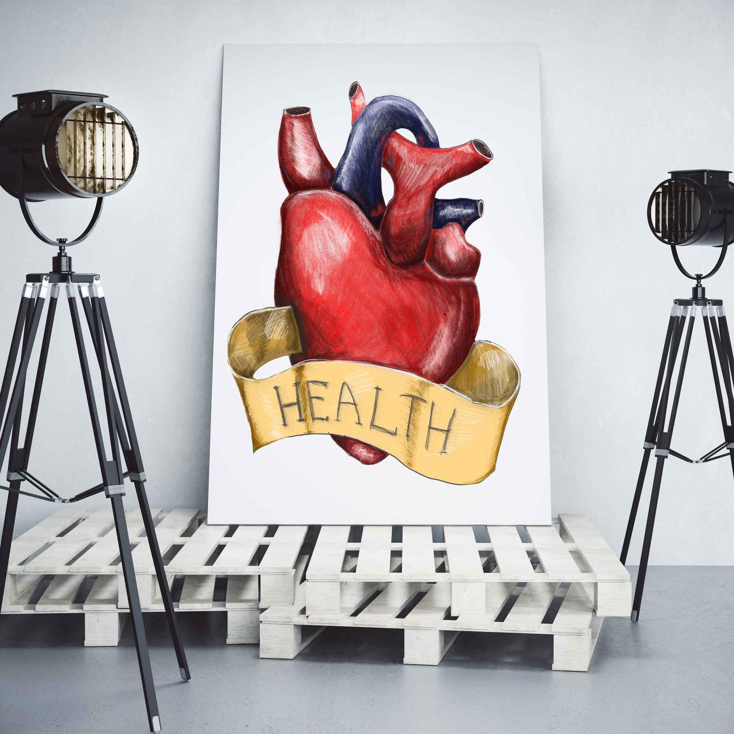 Gemälde mit menschlichem Herz Schriftband Health auf Paletten Scheinwerfer